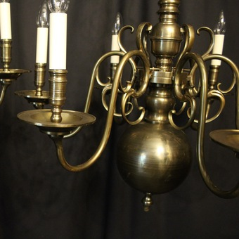 Antique English Pair Of 6 Light Antique Chandeliers