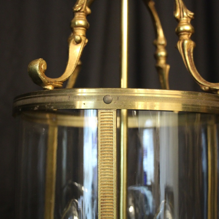 Antique French Gilded Triple Light Antique Lantern