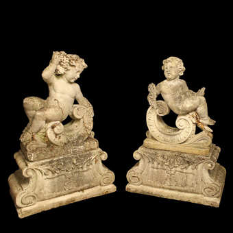 Antique French Pair Of Composition Reclining Cherubs