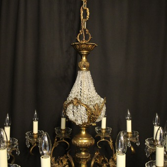 Antique Italian 12 Light Gilded Bronze Antique Chandelier