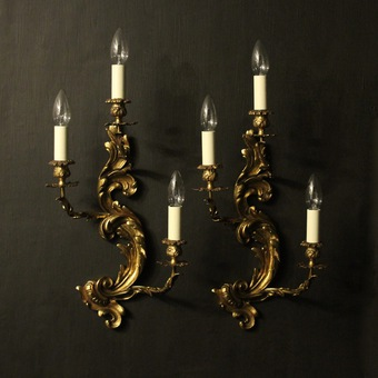 Antique French Pair Of Gilded Triple Arm Wall Lights