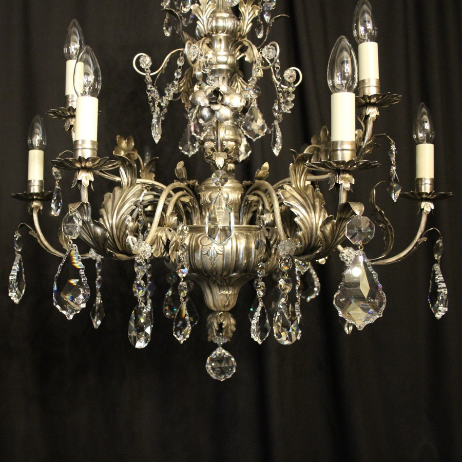 Antique Italian Silver & Crystal Genoa 9 Light Chandelier