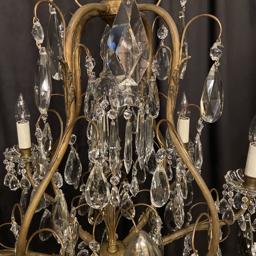 Antique French Gilded 9 Light Antique Chandelier