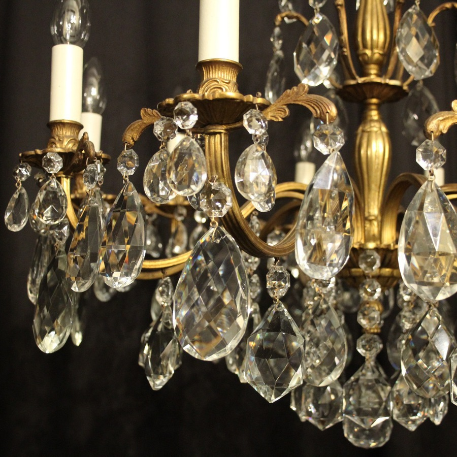 Antique Italian Gilded 10 Light Antique Chandelier