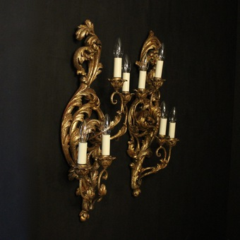 Antique Florentine Silver Giltwood Antique Wall Lights