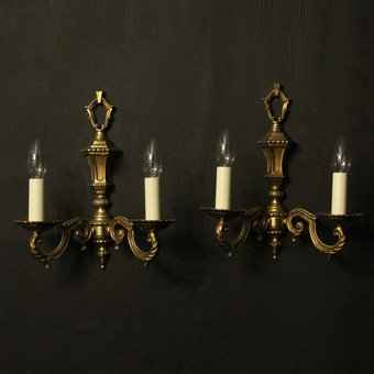 Antique French Pair Of Twin Arm Antique Wall Lights
