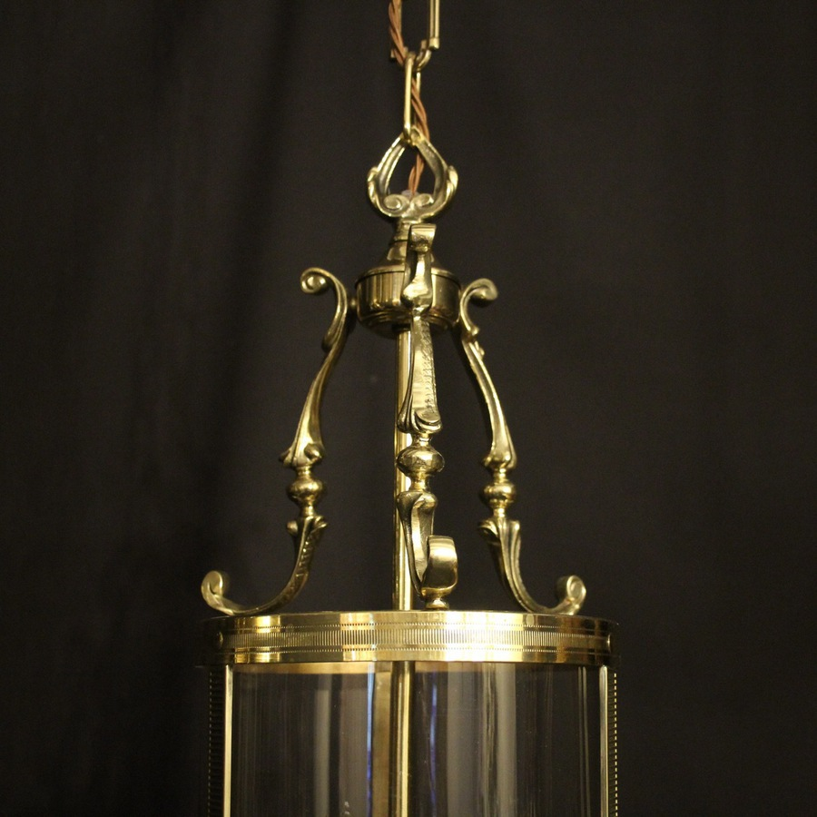 Antique French Pair Of Gilded Bronze Hall Lanterns