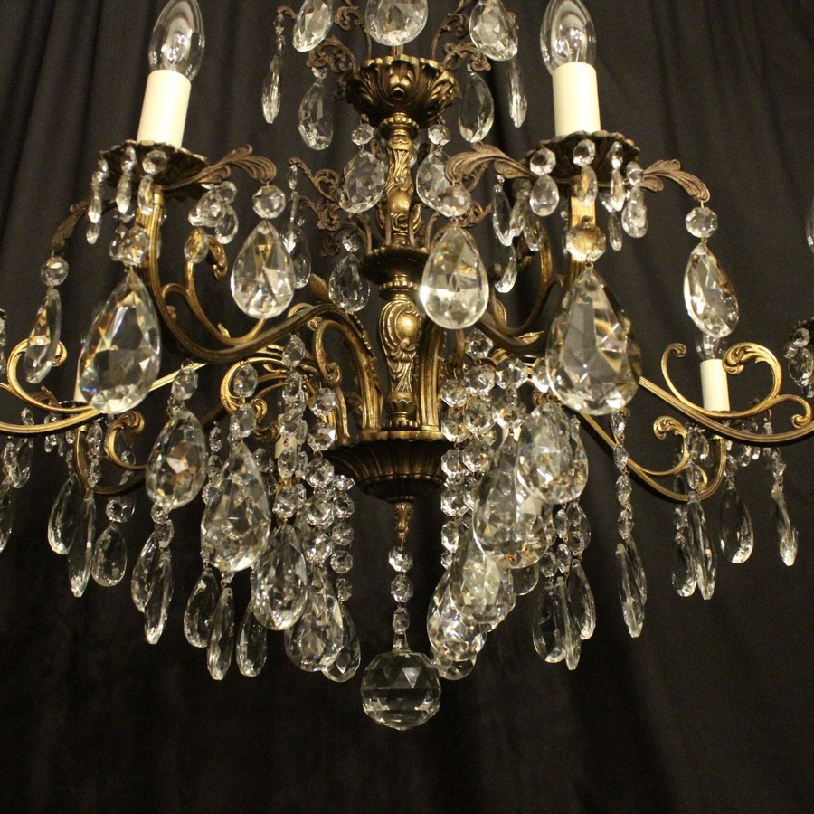 Antique Italian Gilded Bronze 8 Light Antique Chandelier