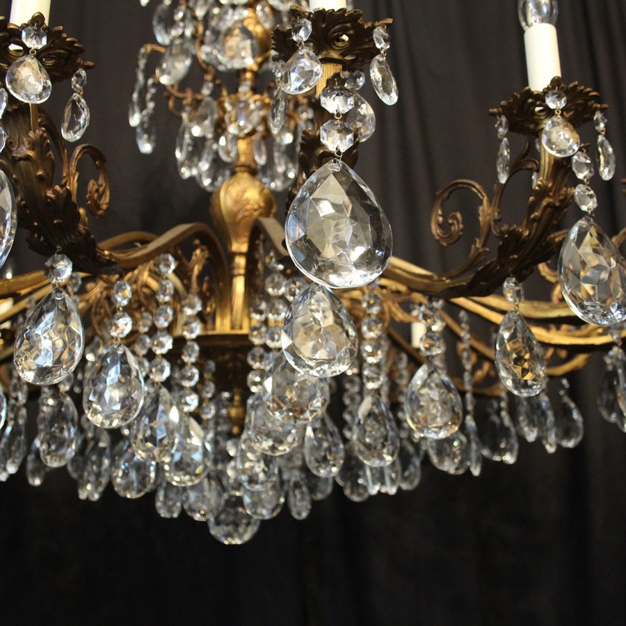 Antique Italian Gilded 16 Light Antique Chandelier