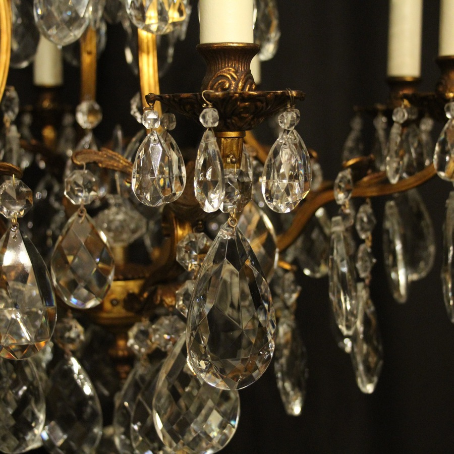 Antique French Gilded Bronze & Crystal Chandelier