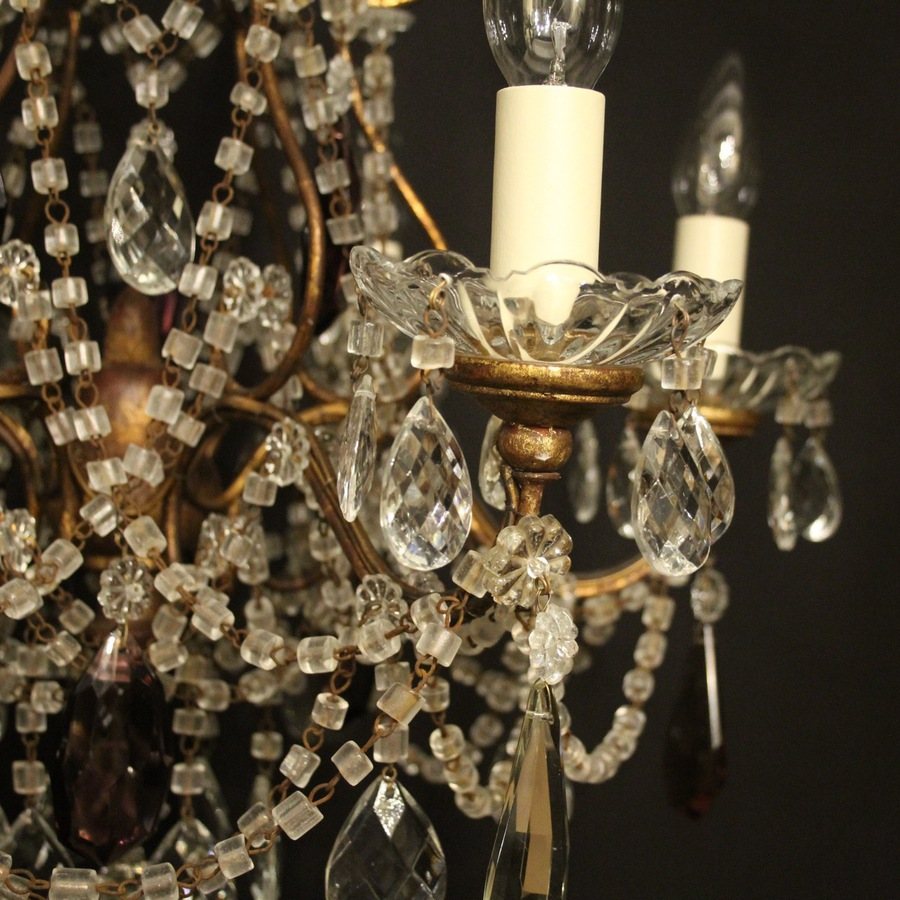 Antique Italian Florentine Six Light Antique Chandelier