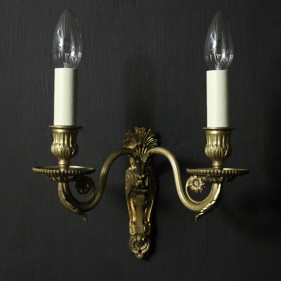 Antique French Gilded Bronze Twin Arm Wall Sconces