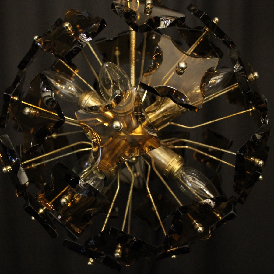 Antique Italian Amber 8 Light Sputnik Chandelier