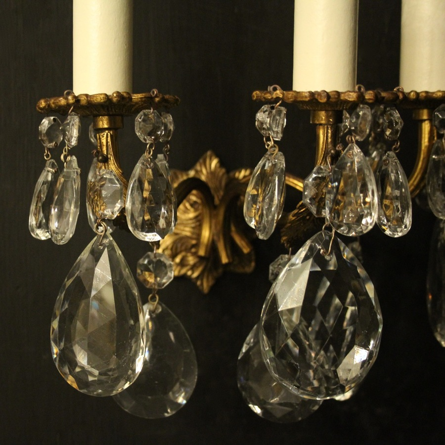 Antique Italian Set Of 3 Gilded Triple Arm Wall Lights