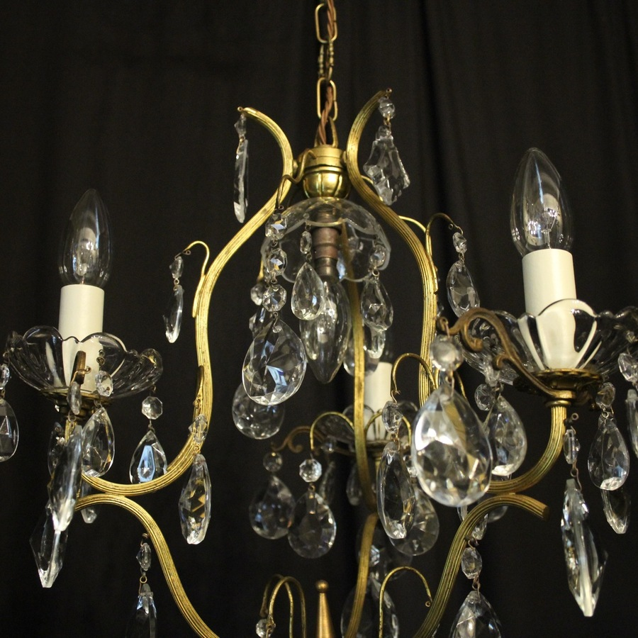 Antique French Birdcage 4 Light Antique Chandelier