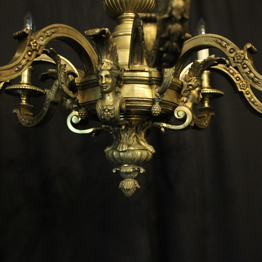 Antique French Gilded Bronze 8 Light Antique Chandelier