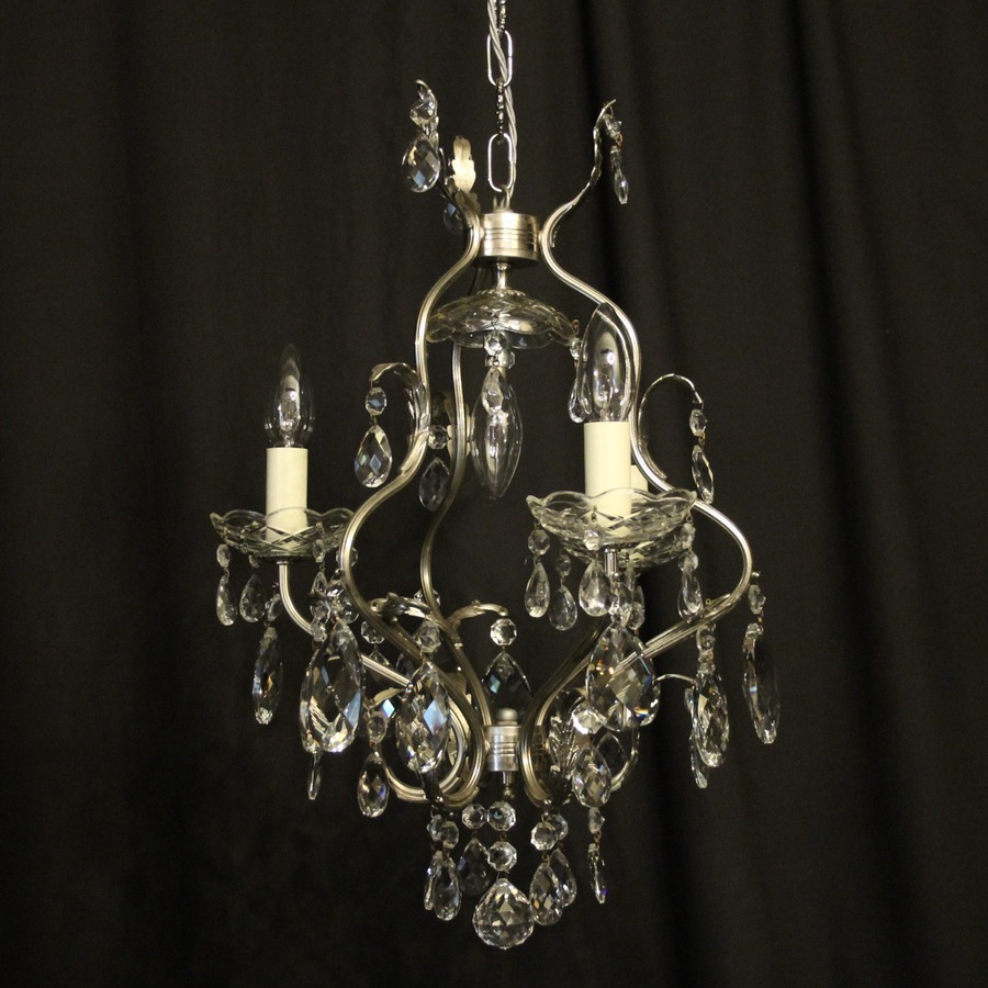 French Nickel Silver 4 Light Antique Chandelier