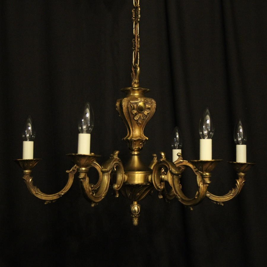 French Gilded Brass 6 Light Chandelier