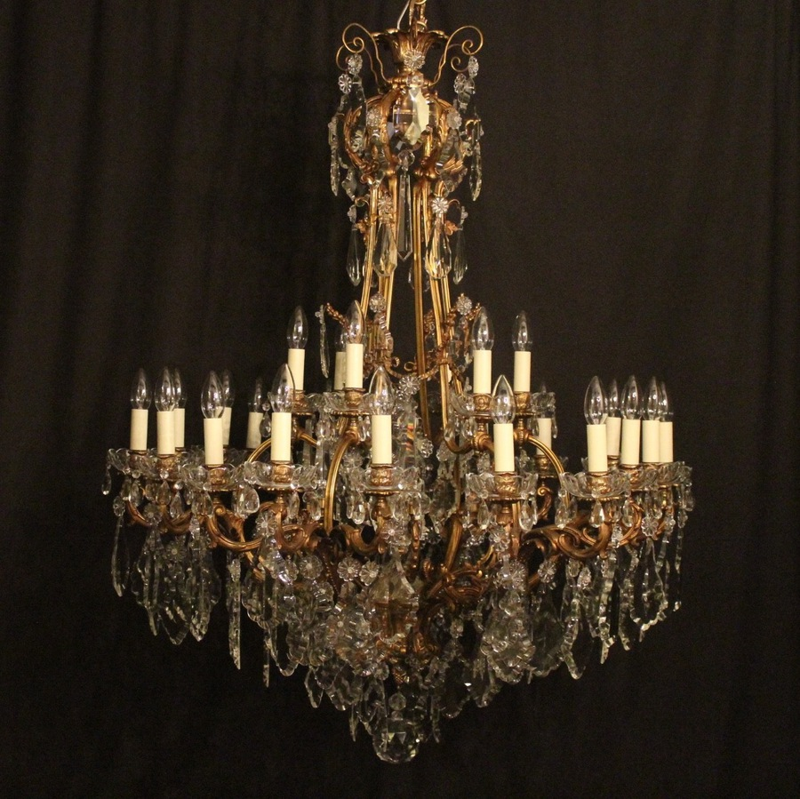 Antique French Bronze 24 Light Antique Chandelier