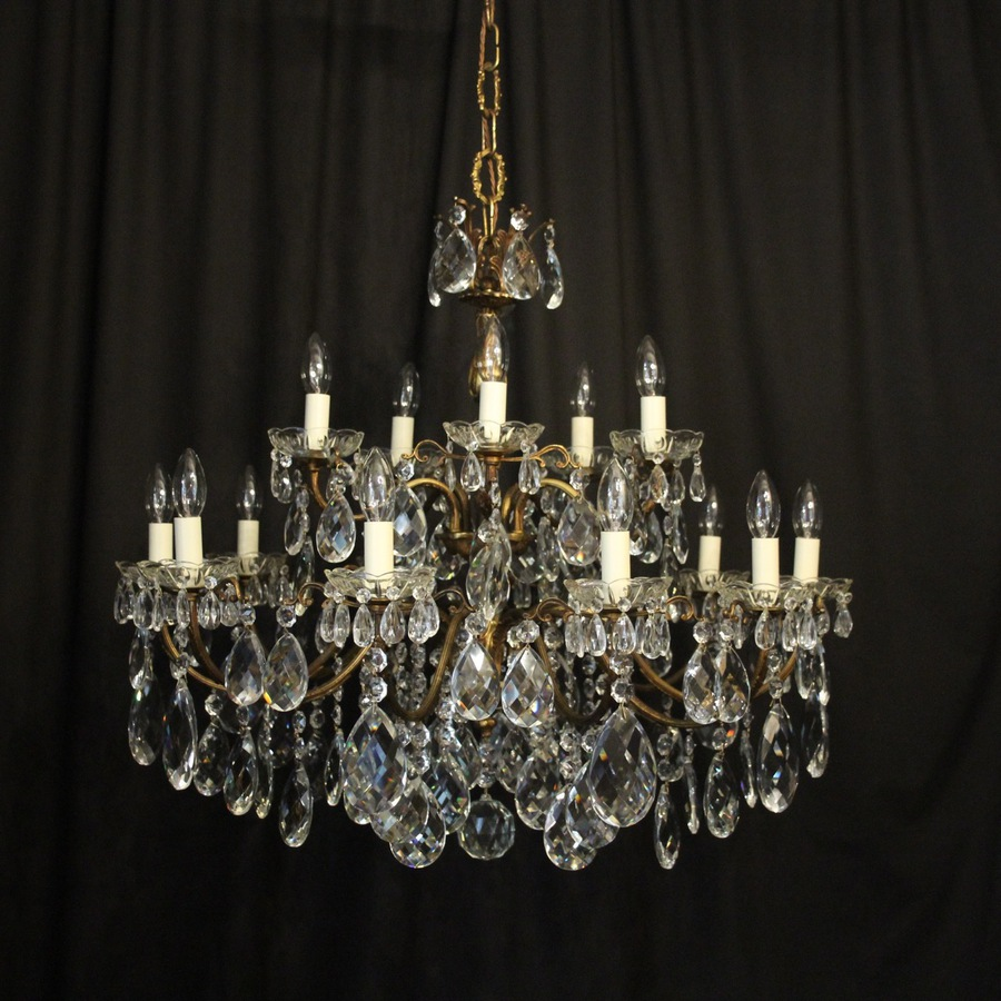 Antique Italian Gilded 15 Light Antique Chandelier