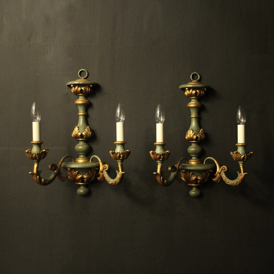 Italian Pair Of Polychrome Twin Arm Wall Lights