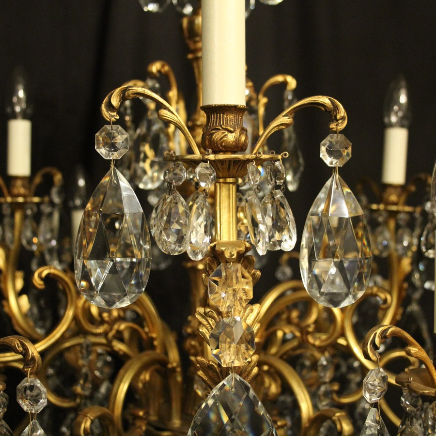 Antique Italian Gilt Bronze 12 Light Antique Chandelier