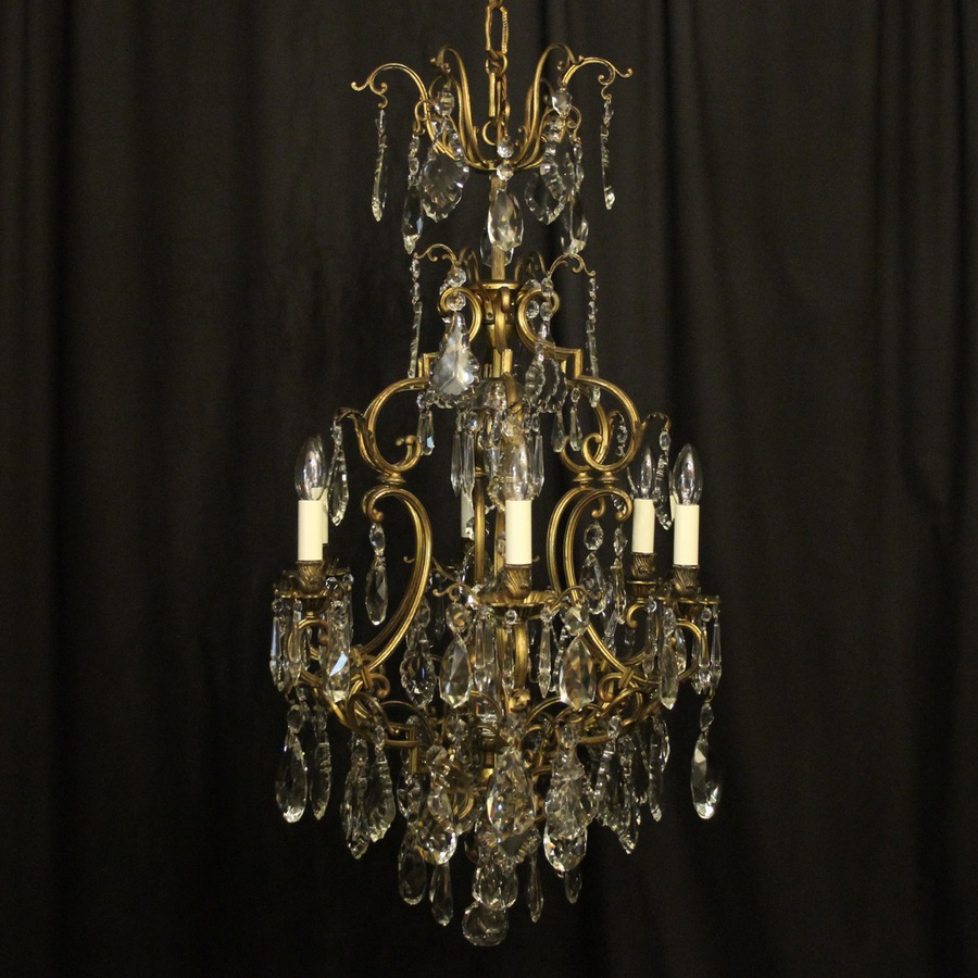 French Bronze & Crystal 7 Light Chandelier