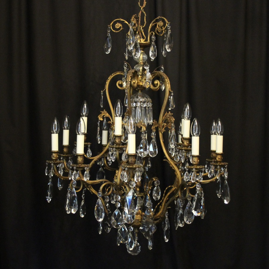 Antique French Gilded Bronze Cage Antique Chandelier
