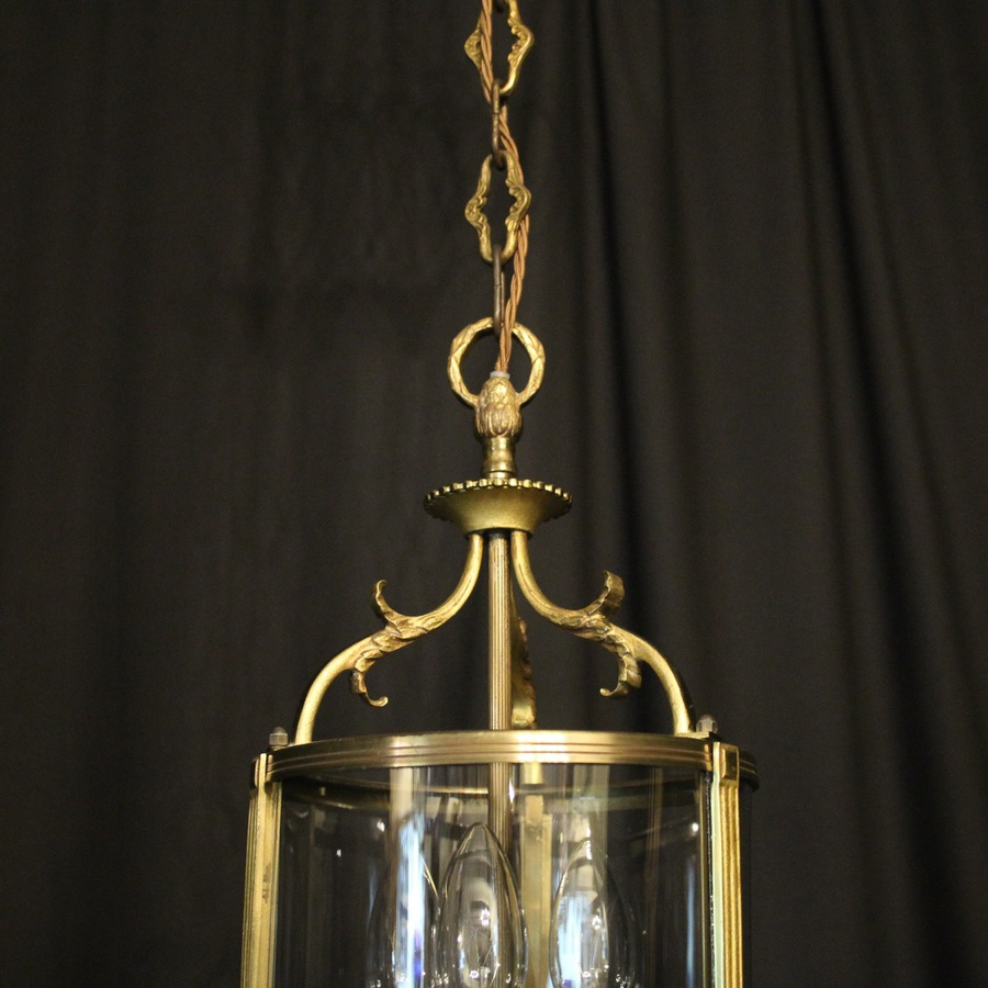Antique French Gilded Convex Antique Hall Lantern