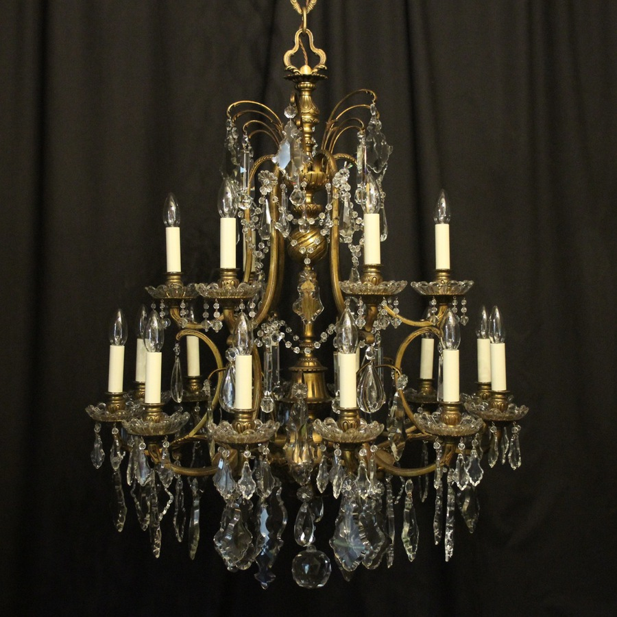 French Bronze & Crystal 18 Light Chandelier