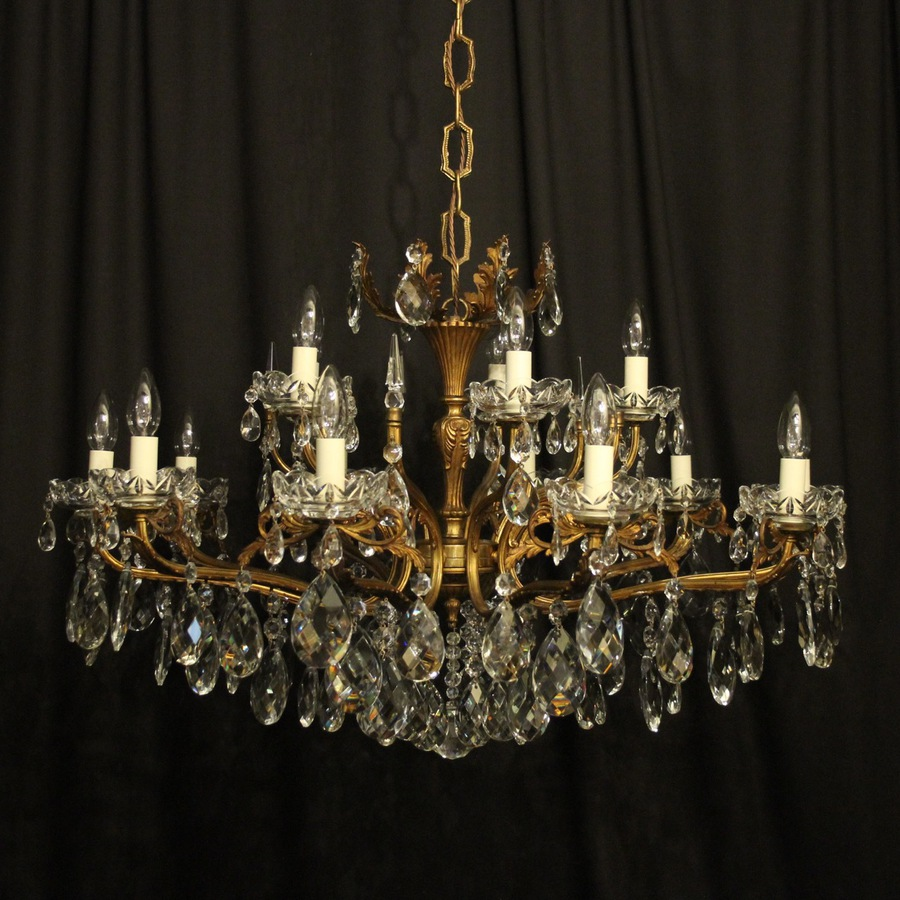 Antique Italian 15 Light Double Tiered Antique Chandelier