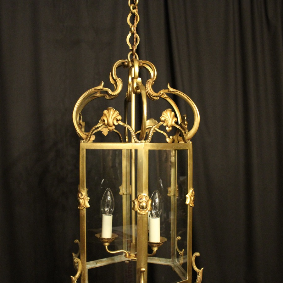 Antique French Gilded Bronze Antique Hall Lantern