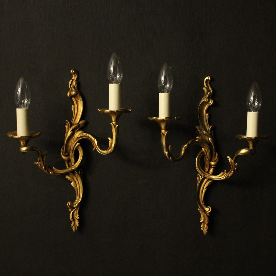 Antique French Pair Of Gilded Bronze Antique Wall Lights