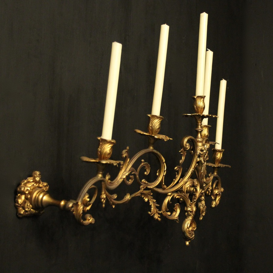 Antique French Gilded Bronze Antique Wall Sconce