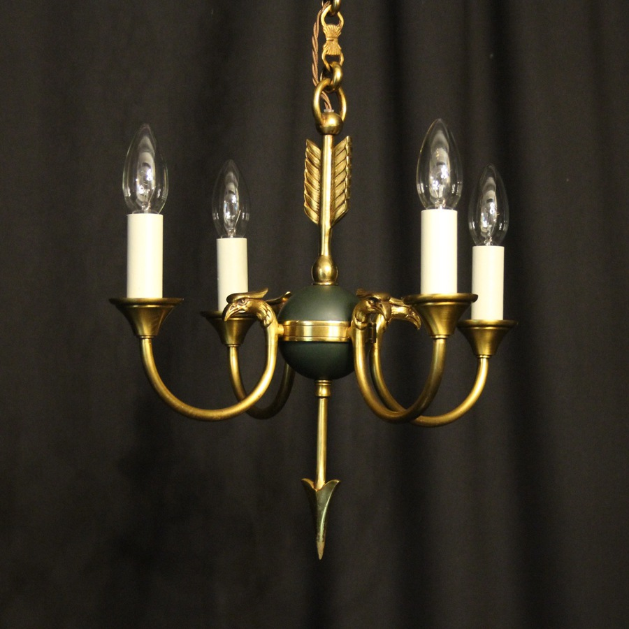 French Gilded Empire 4 Light Chandelier
