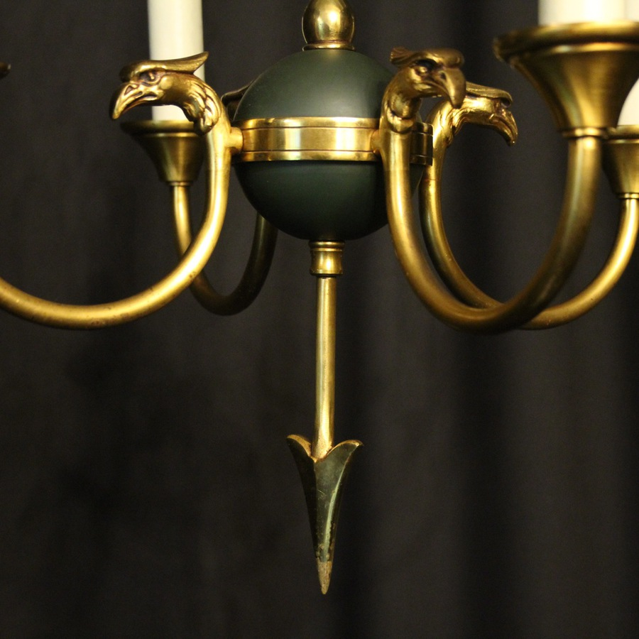 Antique French Gilded Empire 4 Light Chandelier