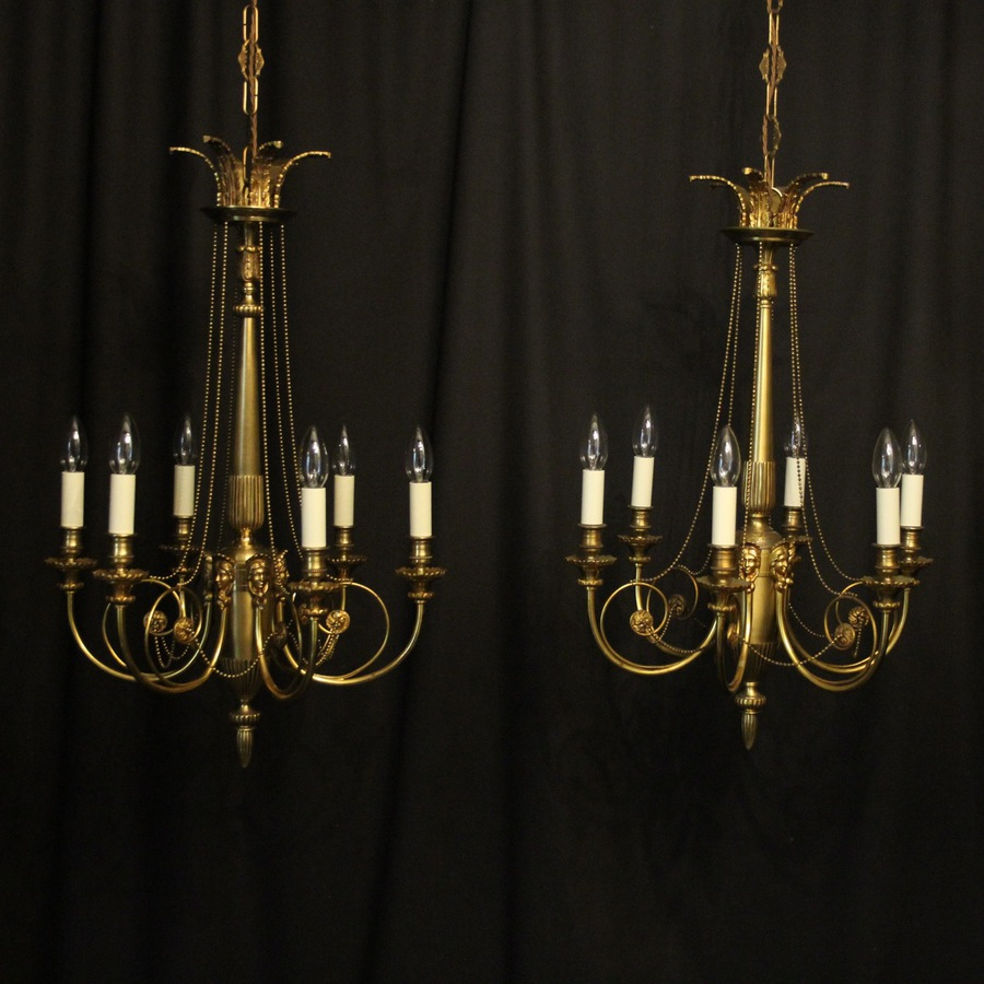 Antique French Gilded Pair 6 Light Antique Chandeliers