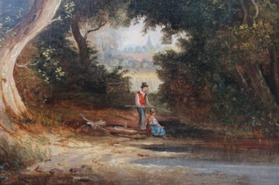 Antique 19THC LANDSCAPE OIL PAINTING WITH FIGURES FISHING 'VICTORIA COLKETT' (1837-1926)
