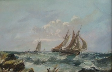 Antique BEAUTIFUL ORIGINAL 19TH CENTURY VICTORIAN SEASCAPE OIL ON BOARD PAINTING C1890