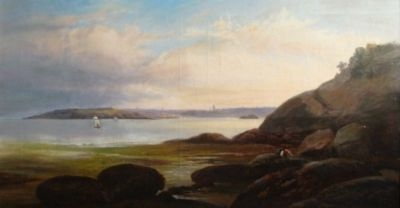 Antique 19thC SCARBOROUGH COASTAL SEASCAPE OIL PAINTING 'HARRY GEORGE WEBB' FL 1882-1914