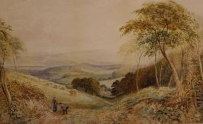 Antique ORIGINAL 19THC MONMOUTHSHIRE LANDSCAPE WATERCOLOUR PAINTING C KEATS (1837-1900)