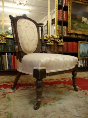 Antique A 19THC VICTORIAN ANTIQUE WALNUT BEDROOM / HALL UPHOLSTERED PARLOUR CHAIR C1880