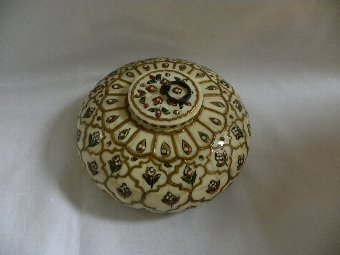 Antique Ogee shaped bone and enamel trinket box - Item 3002