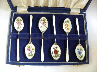 Antique Set of six silver hallmarked enamel coffee spoons - Item 1069