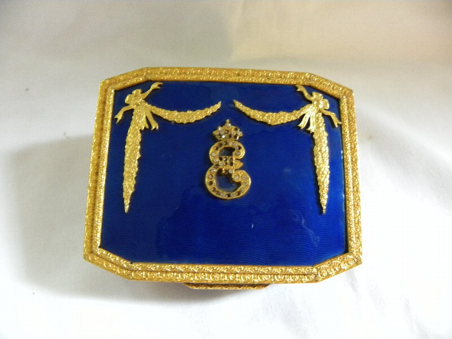 Antique gilt and enamel hinged lid box - Item 2062