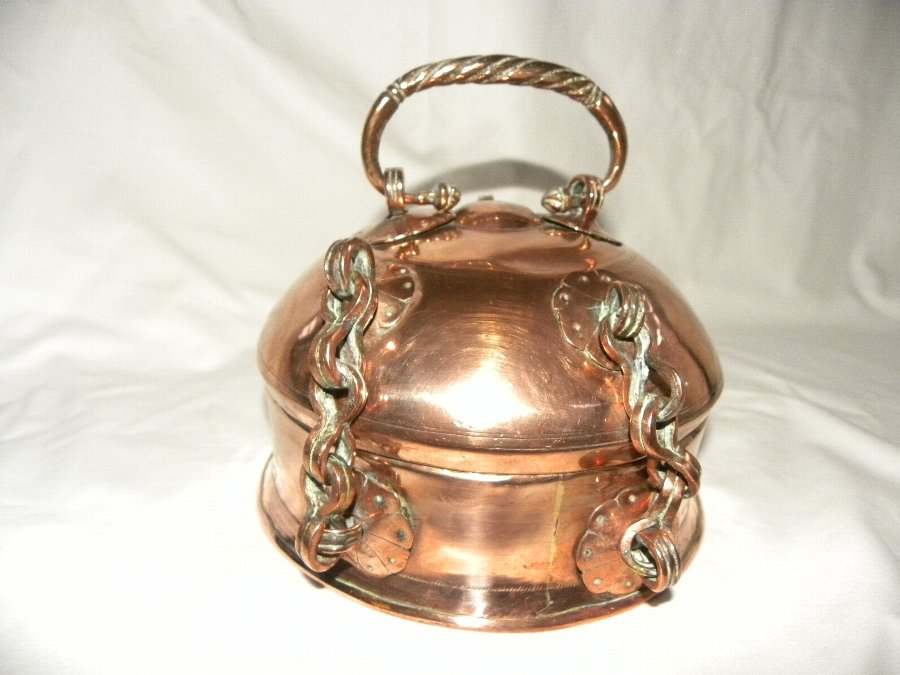 Antique Domed topped Middle Eastern copper spice box - Item 3114
