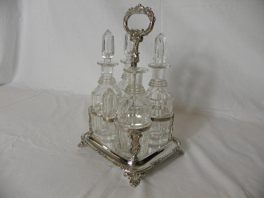 Antique A four bottled silver plated Victorian condiment set - Item 3142