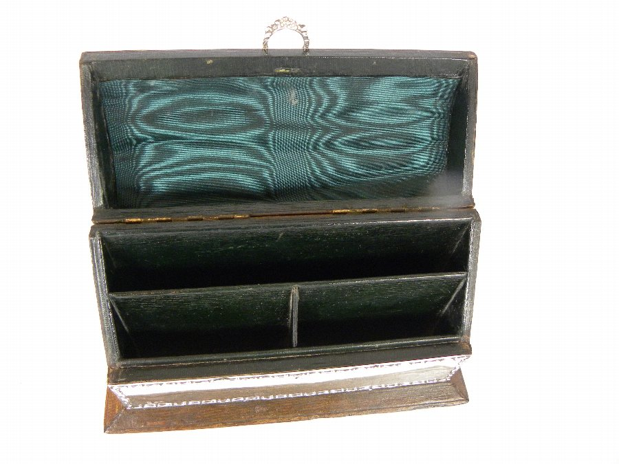Antique A leather bound stationary box with a hallmarked silver mount - Item 3151