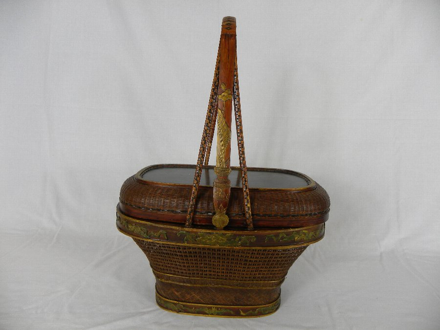 A late 19th century bamboo and wicker Chinese wedding basket - Item 3152