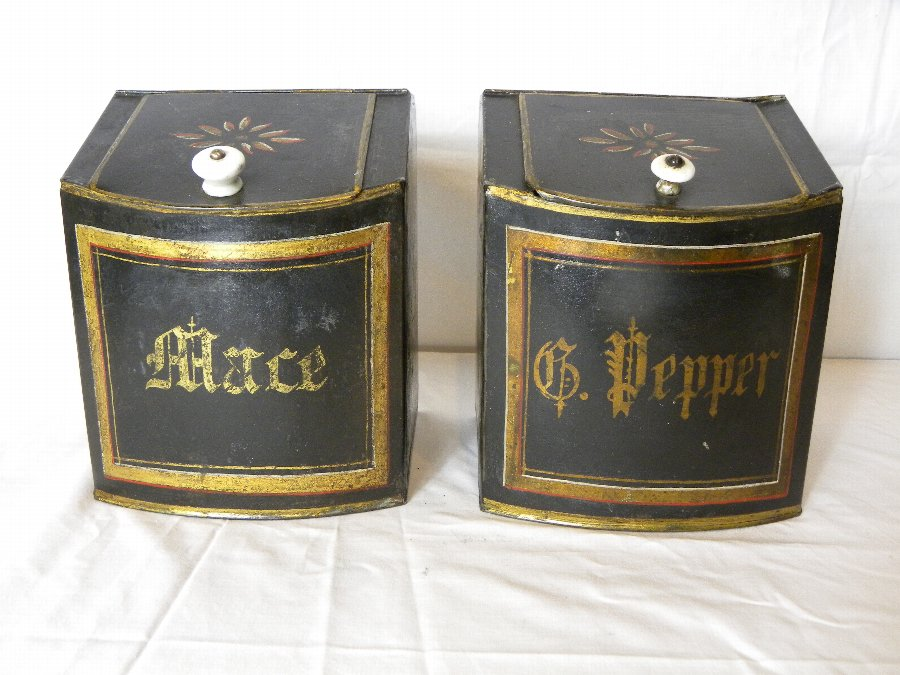 A pair of antique metal spice boxes - Item 3170
